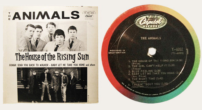 The Animals House Of The Rising Sun Withdrawn Canadian LP