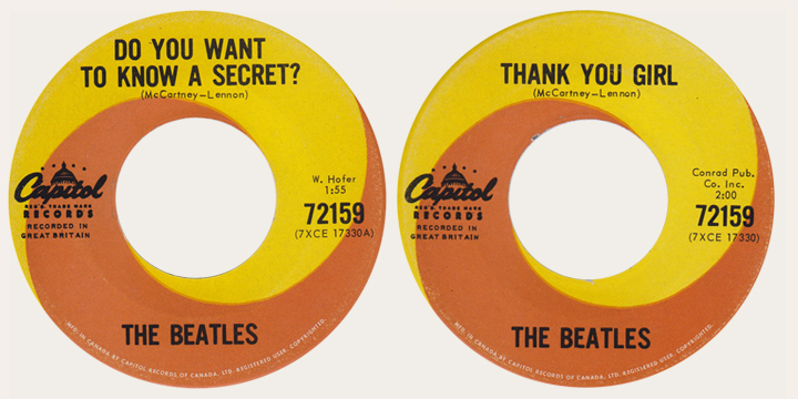 Beatles Do You Want To Know A Secret Canadian 45