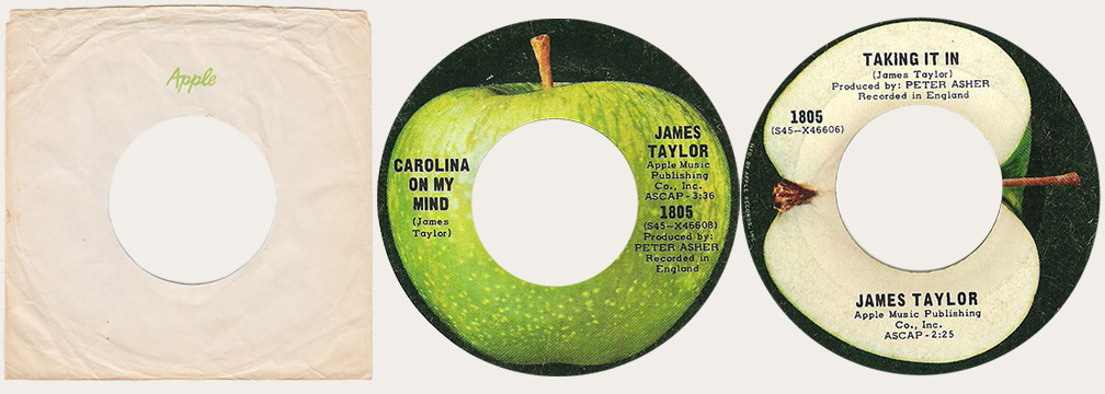 James Taylor withdrawn Carolina On My Mind Canadian Apple 45