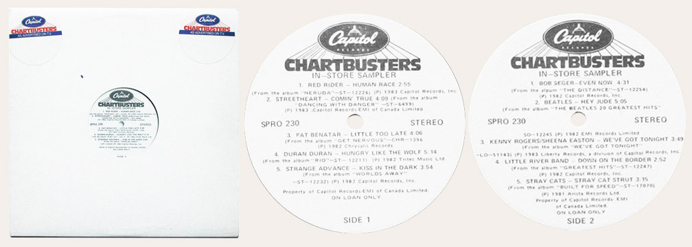 Chartbusters 1986 Canadian LP